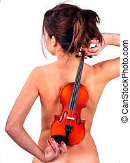 violin on the naked back of a girl