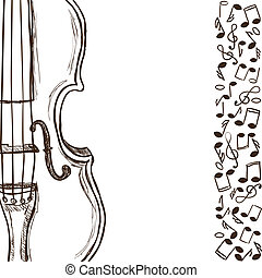 Violin or bass and music notes - Illustration of violin or...