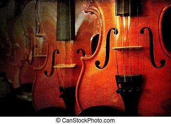 violin, perspektiv, många