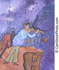 Violin player, fiddle. Original. - Original painting of...