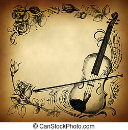 Violin, roses and notes