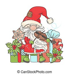 VIOLIN SANTA MUSIC Merry Christmas Vector Illustration Set