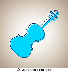 Violin sign illustration. Vector. Sky blue icon with defected blue contour on beige background.