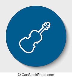Violin sign illustration. Vector. White contour icon in dark cerulean circle at white background. Isolated.