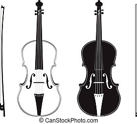 Violin Silhouette - Classic music violin with fiddle stick...