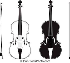 Violin Silhouette - Classic music violin with fiddle stick...
