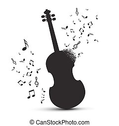 Violin Silhouette with Notes Isolated on White Background. Vector Abstract Music Illustration.