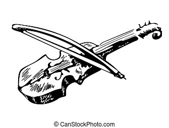 Violin sketch isolated on white background, hand drawn illustration