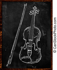 Violin typography sketching on blackboard music wallpaper