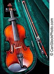 violin with bow in green velvet case