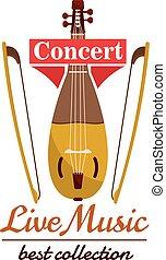 Violin with bows. Concert live music emblem
