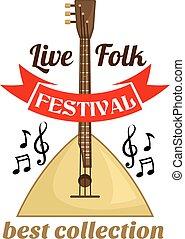 Live folk music festival emblem