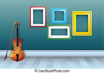 Violin with Empty Frame - illustration of violin withl empty...