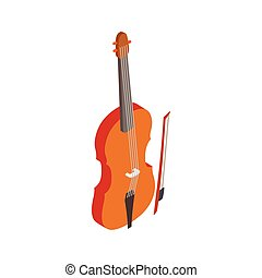 Violin with fiddlestick icon, isometric 3d style