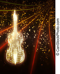 Violin with Sparks - Violin silhouette made from music notes...