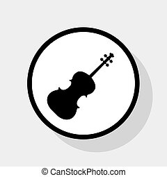 Violine sign illustration. Vector. Flat black icon in white...