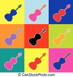 Violine sign illustration. Vector. Pop-art style colorful icons set with 3 colors.