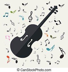 violini, con, note, vettore, musica, fondo
