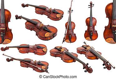 violini, set, vecchio, isolato, bianco