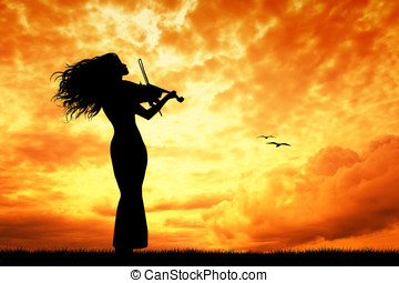violinist at sunset - violinist silhouette at sunset