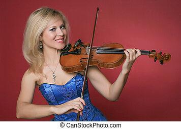violinist, azul, mulher, vestido