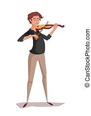 Violinist cartoon man playing music. Vector illustration....