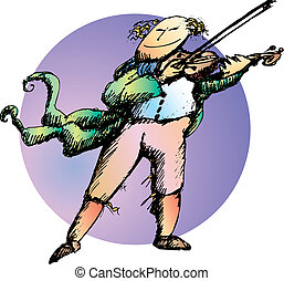 Classic dressed violinist playing his music