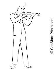 Violinist - Simple line art of a violinist