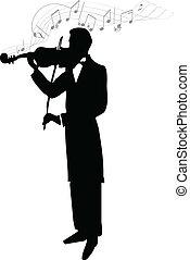 Violinist - Musician's silhouette vector illustration