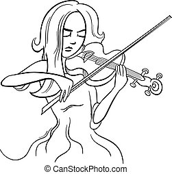 violinist girl cartoon illustration - Black and White...