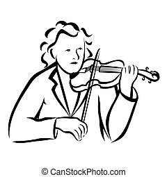 Violinist - Vector illustration : Violinist on a white...