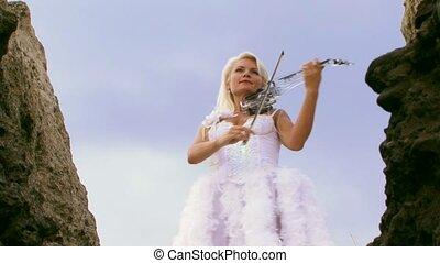 Violinist In A Beautiful White Dress - Beautiful violinist...