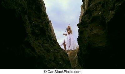 Violinist In A White Dress - Beautiful girl in a fairy dress...
