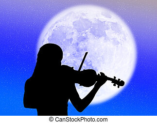 Violinist in the moon - Musician playing violin in the...