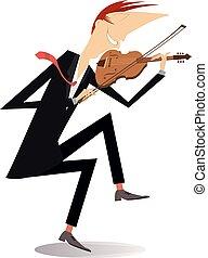 Violinist man illustration - Violinist man is playing music...
