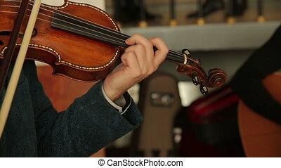Violinist Man Play Violin - Violinist man playing the violin...