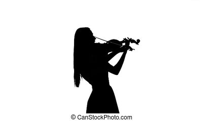Violinist playing the fiddle. Silhouette on white background. Slow motion