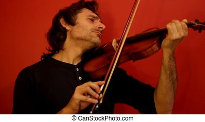 violinist - crazy violinist playing an experimental music...