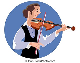 Violinist woman playing the violin instrument