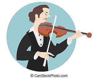 Violinist - Vector Illustration of Violinist Woman or...