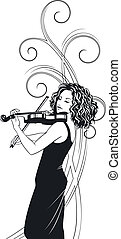 violinist - vector illustration of a girl playing the violin...