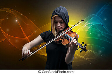 Violinist with colorful fabled concept