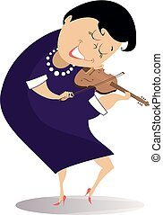 Violinist woman illustration - Violinist woman is playing...