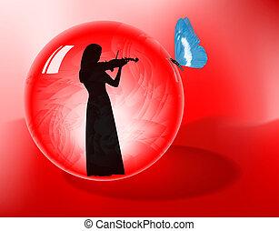 violinista, en, esfera