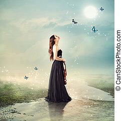 violinista, en, un, arroyo, debajo, la luna, luz