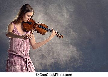 violinista, violino, giovane, carino, gioco