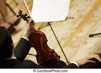violinists, gedurende, een, klassiek concert, muziek