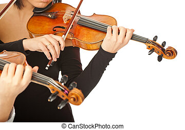 Violinists no face isolated - Two musicians no face playing...