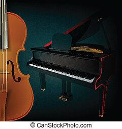 violino, abstratos, música, piano, fundo