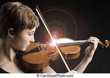 violino, adolescente, cantando, menina, cadeias